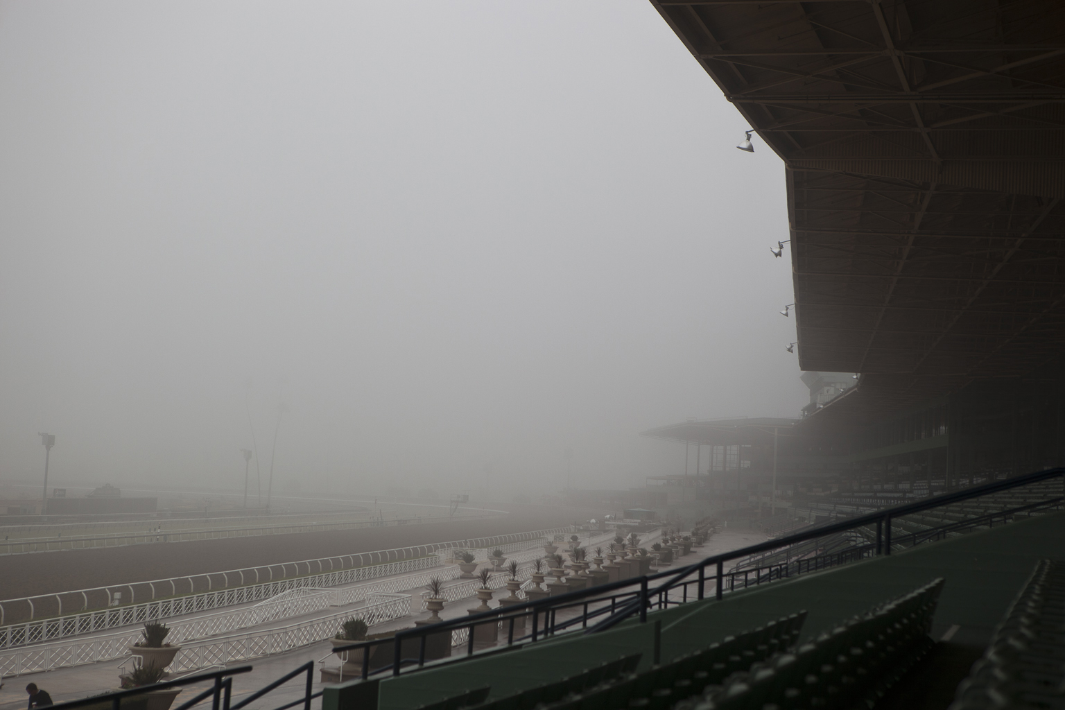 Grandstands in Fog