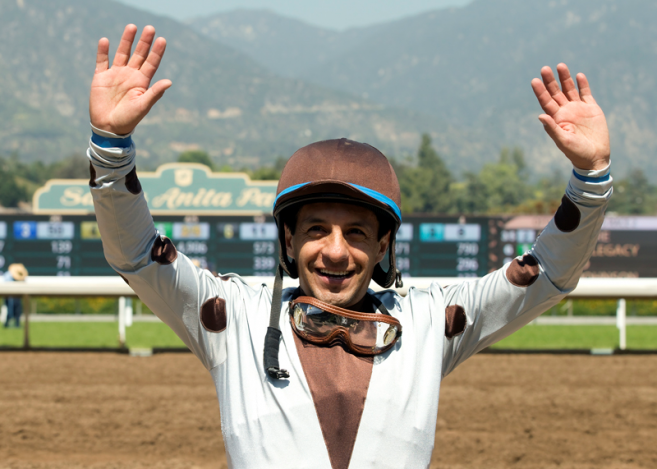 Jockey Victor Espinoza Acknowledges The Crowd After