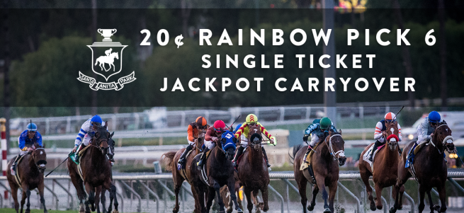 d94026b3fa4673 ALONG WITH A TREMENDOUS SIMULCAST CARD FROM BELMONT PARK, SANTA ANITA TO  OFFER MASSIVE SINGLE TICKET RAINBOW PICK SIX JACKPOT CARRYOVER OF  $1,049,222 ON ...