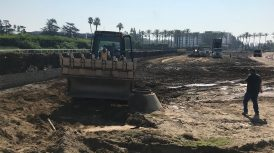 Santa Anita's Dennis Moore overseeing new Turf Chute project on Tuesday morning.