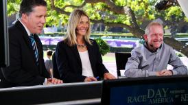 ICONIC JOCKEY PERRY OUZTS MAKES FIRST CAREER VISIT TO SANTA ANITA; 'KING OF RIVER DOWNS' APPEARS ON HRTV'S 'RACE DAY AMERICA'