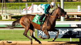 SONGFORJOHNMICHAEL CUTS LOOSE THROUGH STRETCH TO WIN $58,000 ALLOWANCE FEATURE BY 6 ¼ LENGTHS; HENDRICKS TRAINEE GETS 1 ¼ MILES IN 2:02.16 AS TALAMO TURNS FRIDAY HAT TRICK