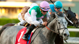 JUDDMONTE FARMS HOMEBRED FILIMBI FLIES LATE TO WIN GRADE II, $200,000 GOLDIKOVA STAKES BY 1 1/4 LENGTHS; ROSARIO, MOTT TEAM FOR CLOSING DAY WIN