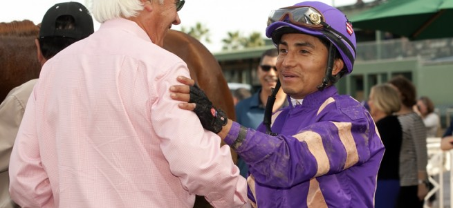 Trainer Bob Baffert, left, and jockey Rafael Bejarano celebrate after Peachtree Stable's Lord Nelson won the Grade II $200,000 San Vicente Stakes Sunday, February 1, 2015 at Santa Anita Park, Arcadia, CA. ©Benoit PHoto