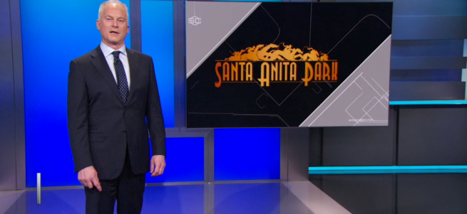 Kenny Mayne on SportsCenter talking about his experience calling a race at Santa Anita Park.