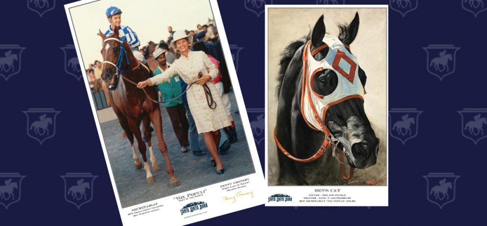 Ben's Cat and Penny Chenery with Secretariat Print