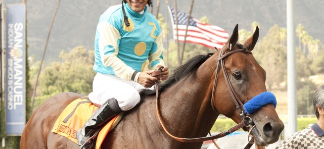 Zayat Stables' American Pharoah and jockey Victor Espinoza win the Grade I $300,000 FrontRunner Stakes Saturday, September 27, 2014 at Santa Anita Park, Arcadia, CA. ©Benoit Photo