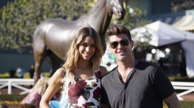 Robin Thicke enjoys a day at the races.