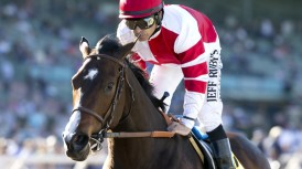 Fox Hill Farms' Songbird and jockey Mike Smith win the Grade II, $300,000 Las Virgenes Stakes, Saturday, February 6, 2016 at Santa Anita Park, Arcadia CA. © BENOIT PHOTO