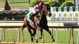 Fox Hill Farms' Songbird and jockey Mike Smith win the Grade I, $300,000 Chandelier Stakes, Satuday, September 26, 2015 at Santa Anita Park, Arcadia CA. © BENOIT PHOTO