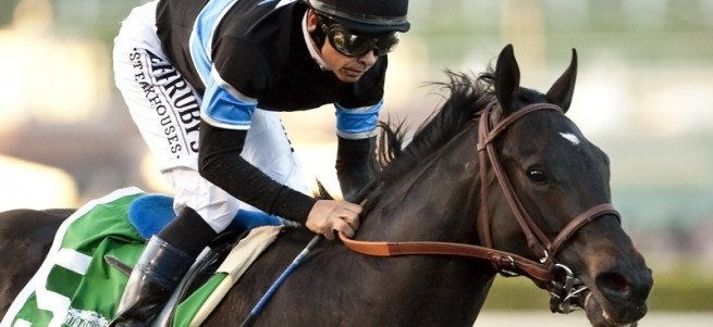 Shared Belief and jockey Mike Smith make easy work of the $1,000,000 Grade I Santa Anita Handicap Saturday, March 7, 2015 Santa Anita in Arcadia, CA. ©Benoit Photo