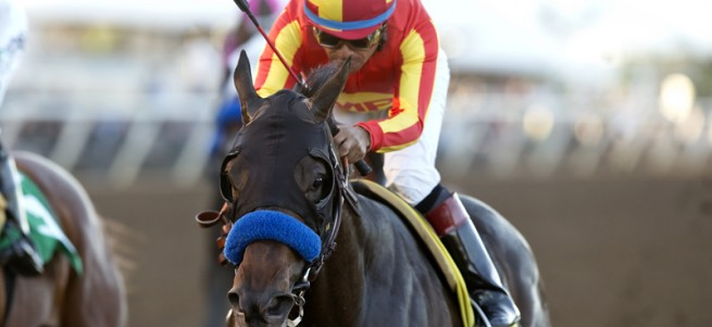 Toews On Ice and jockey Martin Garcia win the Grade III $100,000 Bob Hope Stakes Saturday, November 14, 2015 at the Del Mar Thoroughbred Club, Del Mar, CA. ©Benoit Photo