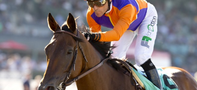 Beholder and jockey Gary Stevens win the Grade I, $300,000 Zenyatta Stakes, Saturday, September 26, 2015 at Santa Anita Park, Arcadia CA. © BENOIT PHOTO