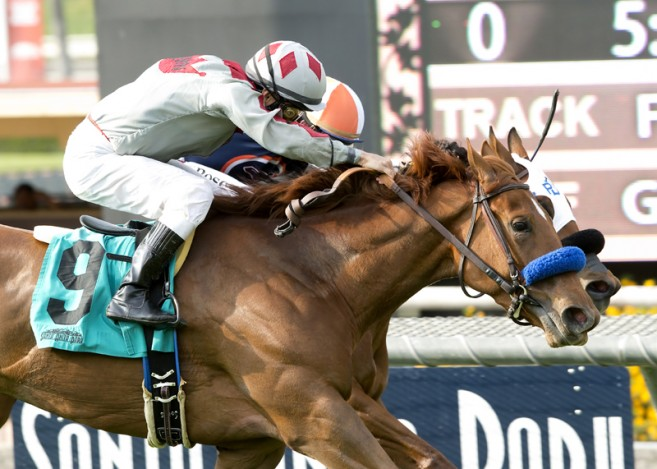 Stays in Vegas and jockey Alex Solis, outside, overpower Be Mine (Tyler Baze), inside, to win the Grade III, $100,000 Senorita Stakes, Saturday, May 7, 2016 at Santa Anita Park, Arcadia CA. © BENOIT PHOTO
