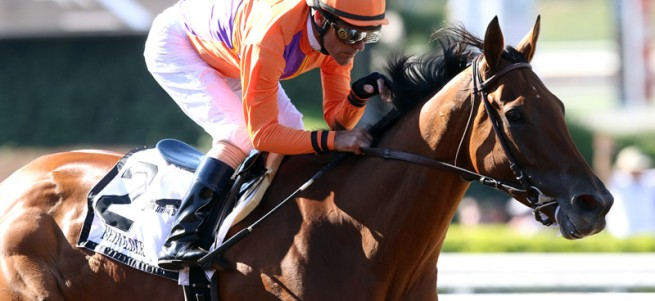Spendthrift Farm's Beholder and jockey Gary Stevens win the Grade I, $400,000 Vanity Mile, Saturday, June 4, 2016 at Santa Anita Park, Arcadia CA. © BENOIT PHOTO