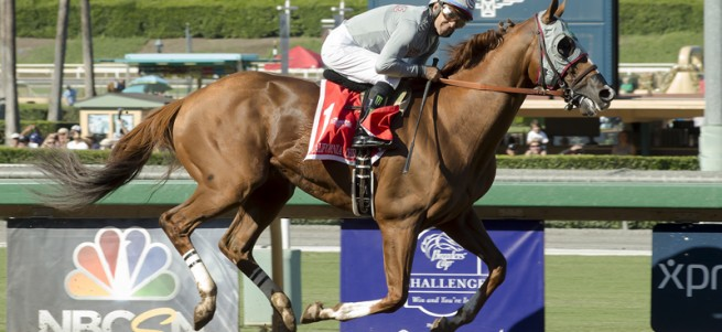 California Chrome and Victor Espinoza cruise to a facile win in the Grade I $300,000 Awesome Again Stakes Saturday, Oct. 1, 2016 at Santa Anita Park, Arcadia, CA.  Dortmund and Rafael Bejarano, left, finish second. ©Benoit Photo