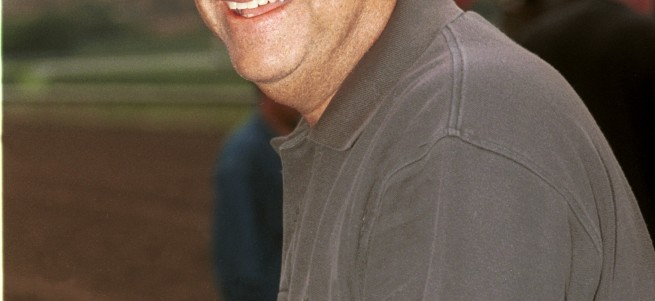 Trainer Bobby Frankel enjoyed an excellent weekend, sweeping Del Mar's stakes starting Saturday, Aug. 5, winning the Grade II $150,000 San Clemente Handicap with Uncharted Haven, then following up Sunday, Aug. 6, 2000 with wins in the $64,000 Sandy Blue with Hastenby and the $250,000 Grade III San Diego Handicapat with Skimming. Del Mar Thoroughbred Club, Del Mar, CA.  © Benoit Photo, Editorial Use Only