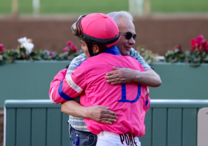 SANTA ANITA BASED JOCKEY MARIO GUTIERREZ, 30, CELEBRATES HIS 1,000TH CAREER WINNER THURSDAY WITH HALL OF FAME TRAINER JERRY HOLLENDORFER, WHO GAVE HIM