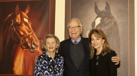 The inaugural Secretariat Vox Populi Award, or ÒVoice of the People,Ó was awarded to Zenyatta, the brilliant mare whose only loss in her 20-race career was a nail-biting defeat in the BreedersÕ Cup Classic last October.  Secretariat's owner Penny Chenery, left,, who created the award, presented the custom-made Vox Populi trophy to Zenyatta's owners Jerry and Ann Moss  Saturday, February 5, 2011 at Santa Anita Park, Arcadia, CA.