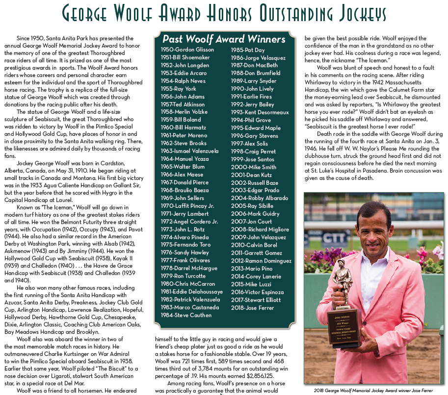 SANTA ANITA PARK ANNOUNCES 2019 GEORGE WOOLF MEMORIAL JOCKEY AWARD FINALISTS, WINNER TO BE ANNOUNCED IN LATE FEBRUARY